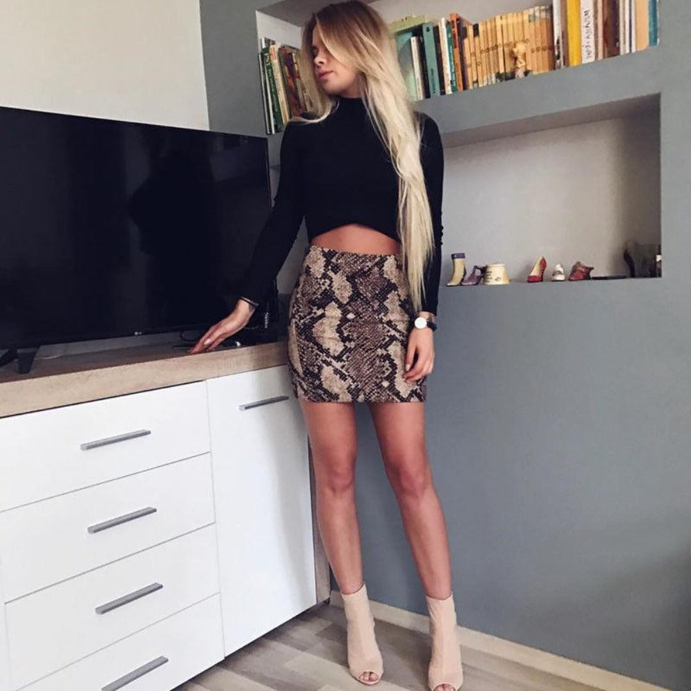 Women'S Snake Print Bodycon Skirt-Skirts-Product Details: Women's Snake Print High Waist Bodycon Party Skirt Material: Polyester Color: As picture show Size Chart:-Keyomi-Sook