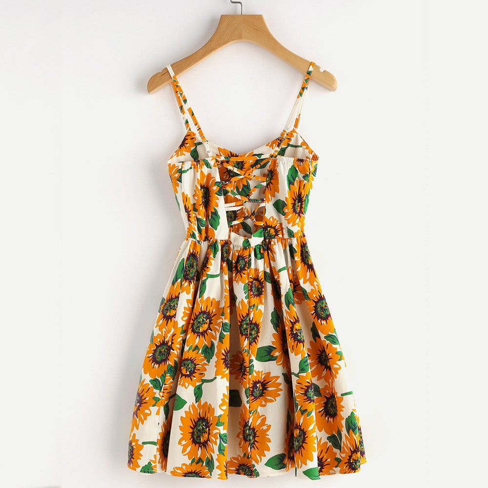 Women's Sunflower Print Mini Dress-Dresses-Product Details: Women's Sunflower Print Spaghetti Strap Mini Dress Material: Chiffon, Polyester Silhouette: Straight Pattern Type: Striped Dresses Length: Above Knee, Mini Sleeve Style: Petal Sleeve Waistline: Natural Neckline: Slash Size Chart:-Keyomi-Sook