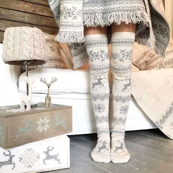 Women's Elk Deer Knitted Leggings-Ladies Socks-Product Details: Women's Elk Deer Knitted Winter Over The Knee Leggings Material: Polyester Dimensions: Length: 60 - 80 cm-Keyomi-Sook