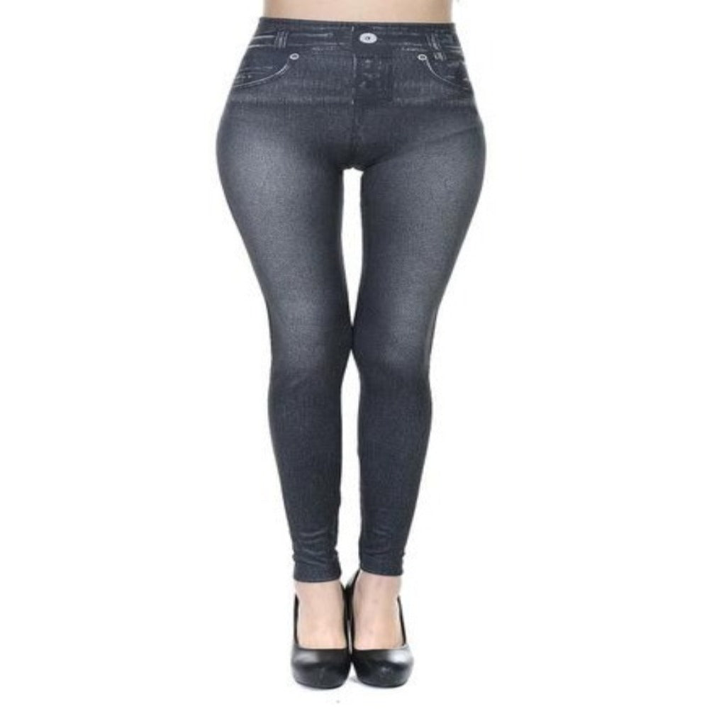 Women's Faux Denim Pocket Pencil Jeans-Ladies Jeans-Thin Black-S-Product Details: Women's Faux Denim Pocket Casual Pencil Plus Size Jeans Length: Ankle-Length Waist Type: Mid Item Type: Leggings Style: Casual Material: Polyester, Spandex Fabric Type: Broadcloth Size Chart:-Keyomi-Sook