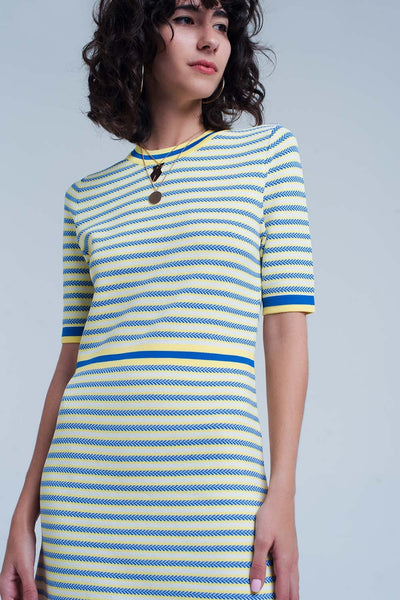 Yellow Striped Knitted Dress-Women - Apparel - Dresses - Day to Night-Product Details Yellow dress with blue stripes made from high quality viscose. This dress has short sleeves and a bit of stretch in it.-Keyomi-Sook