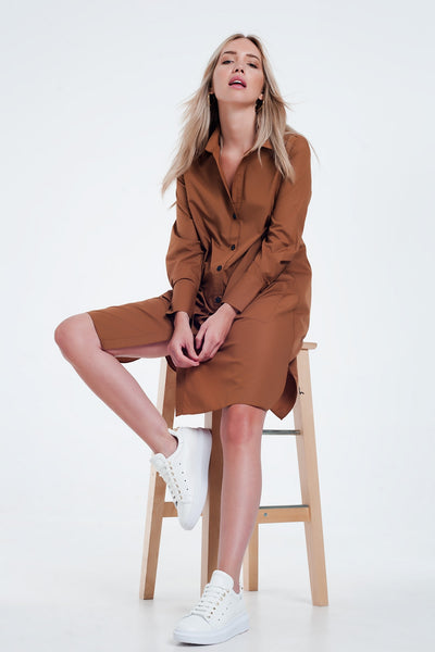 Utility Midi Shirt Dress With Pockets In Brown-Women - Apparel - Dresses - Day to Night-M-Keyomi-Sook