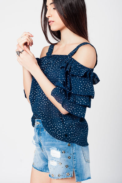 Navy Top With Printed Stars-Women - Apparel - Shirts - Blouses-Product Details Navy blue tank top with white star print. Features ruffles on sleeves and bare shoulders.-Keyomi-Sook