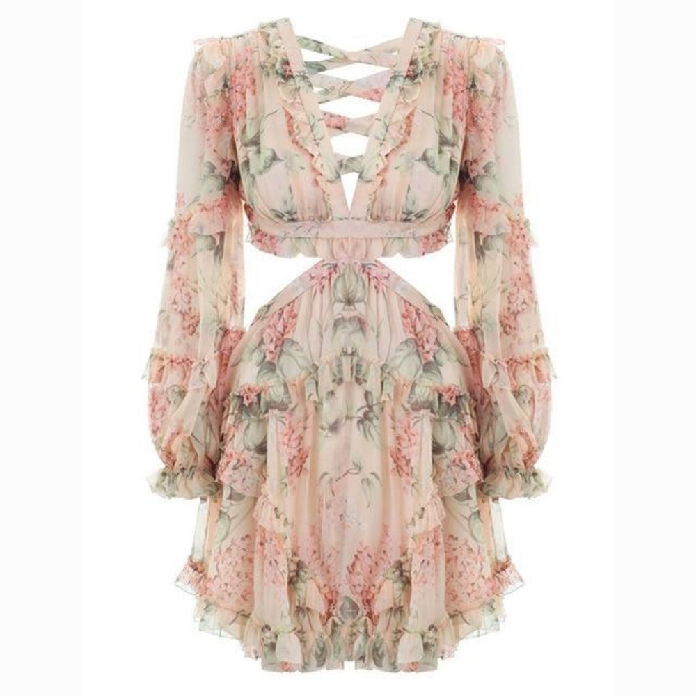 Women'S Floral Print V-Neck Backless Dress-Dress - WOMAN-Beige-S-Product Details: Women's Floral Print V-neck Backless Long Sleeve Mini Dress Material: Polyester Size Chart:-Keyomi-Sook