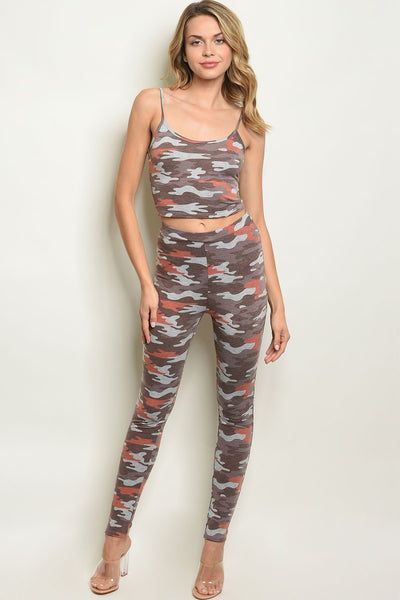 "Womens Brown Camouflage Top & Pants Set-Women - Apparel - Sets-Small-Product Details Sleeveless camo crop top and pants set. Country: USAFabric Content: 87% POLYESTER 9% RAYON 4% SPANDEXSize Scale: S-M-LDescription: TOP: L: 16"" B: 30"" W: 26"" PANTS: L: 39"" W: 26"" I.S.: 29""-Keyomi-Sook"