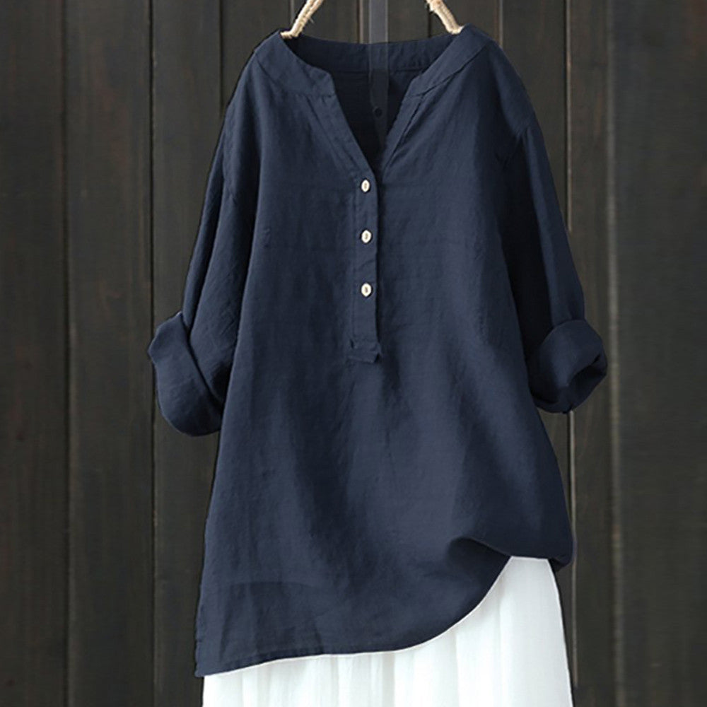 Women's Linen Cotton Long Sleeve Loose Shirt-Navy-S-Product Details: Women's Linen Cotton Long Sleeve Buttons Loose Casual Shirt Season: Summer Occasion: Daily, Casual Material: Cotton Linen Pattern Type: Solid Style: Casual Sleeve Length: Long Sleeve Collar: V-neck Thickness: Standard Size Chart:-Keyomi-Sook