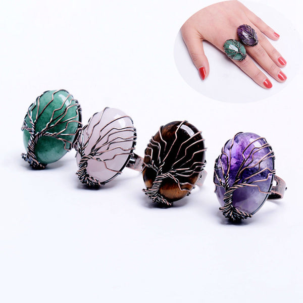 Stone Egg & Tree Of Life Ring--Product Detail: mart Vintage Finger Natural Stone Egg Shape Wrapped Tree of Life Antique Rings for Women Men Adjustable Jewelry Gift Metals Type: Copper Material: Semi-precious Stone Shape Pattern: Oval Fine or Fashion: Fashion Plated: Antique Copper Plated Natural Stone: Amethyst, Black Onyx, Green Aventurine, Rose Quartz, Tiger Eye Other Stone: Opal Dimension: Surface Width: 2 2 mm Stone Size: Approx 3.2 x 2.2 x 1.2 cm-Keyomi-Sook