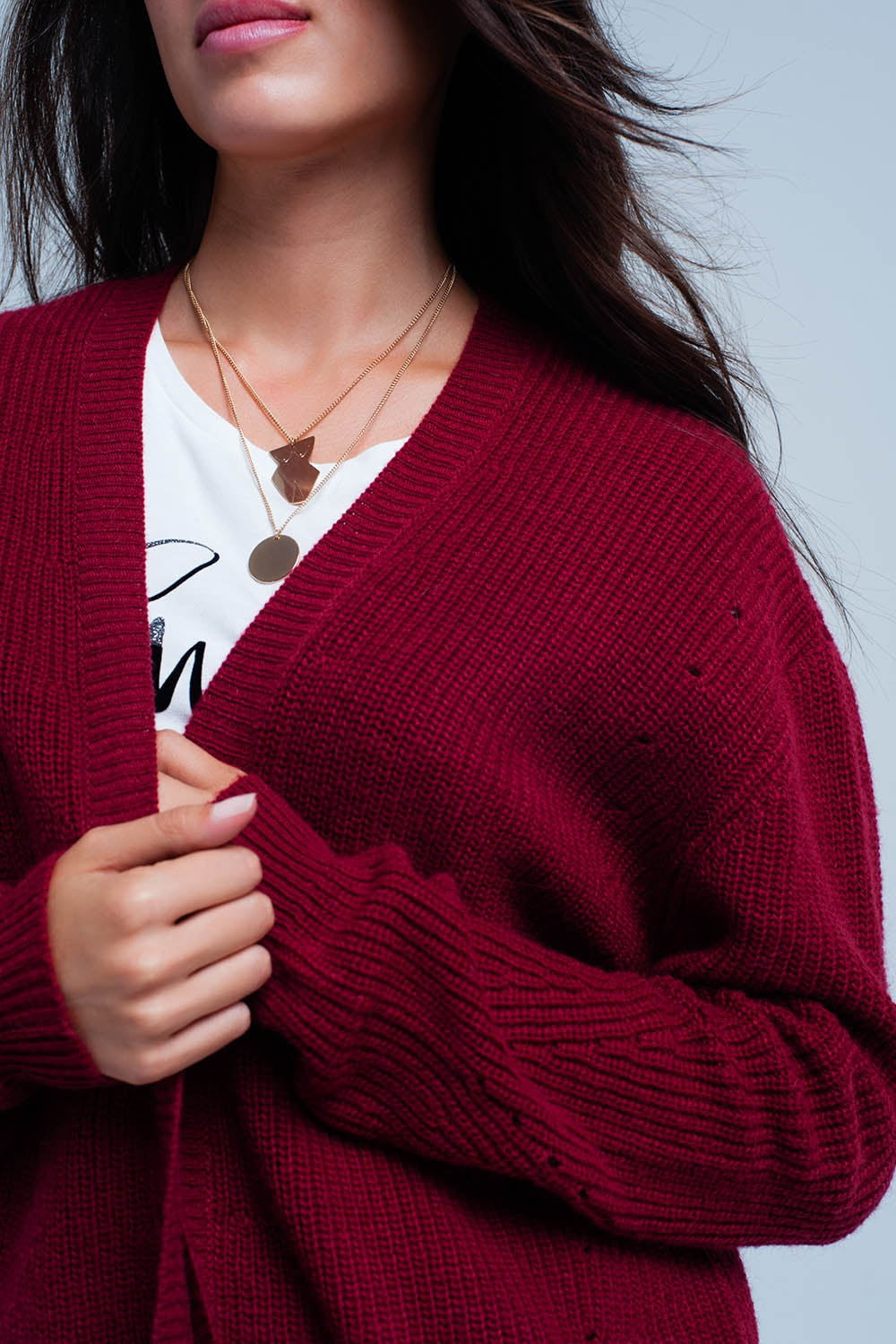 Maroon Angora Cardigan With Long Sleeves-Women - Apparel - Sweaters - Cardigans-Product Details Maroon long sleeve jacket in high quality angora. In the shoulders are larger holes that make the cardigan somewhat apart.-Keyomi-Sook