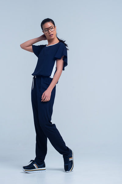 Navy Blue Jumpsuit With Short Sleeve And Ruffle Detail-Women - Apparel - Jumpsuits/Rompers-L-Keyomi-Sook