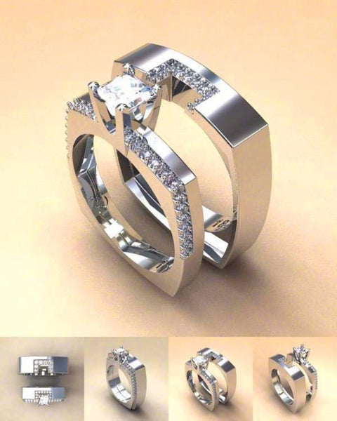 Geometric Stack-able Blocked Crystal Ring-Ladies Rings-6-Keyomi-Sook