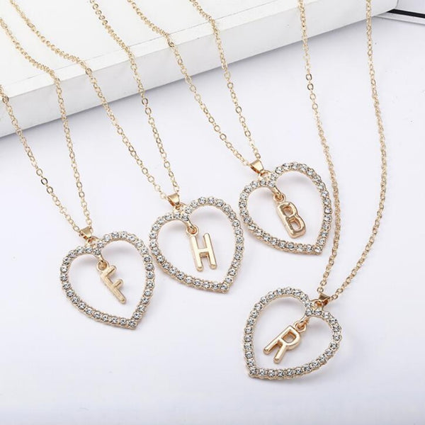 Double Rhinestone Heart Monogram Necklace-A-Keyomi-Sook