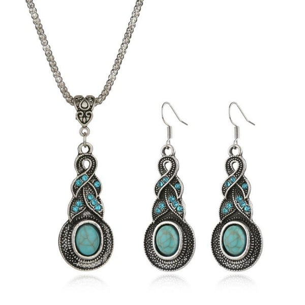 Women's Turquoise Crystal Chain Jewelry Set-Jewelry Sets-Product Detail: Women's Tibetan Silver Turquoise Crystal Chain Jewelry Set-Keyomi-Sook