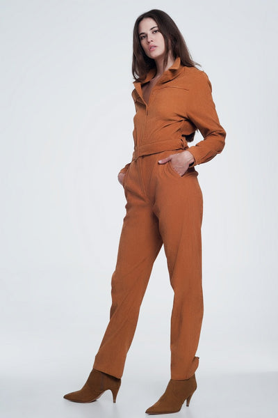 Cord Utility Jumpsuit In Camel-Women - Apparel - Dresses - Day to Night-Large-Keyomi-Sook