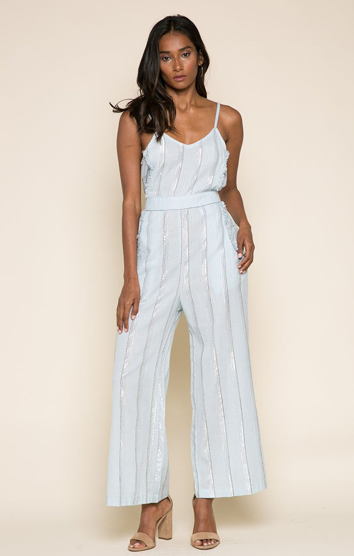 Skyla Jumpsuit-Women - Apparel - Jumpsuits/Rompers-Product Details 99% Cotton 1% Lurex Nidhi is 5'10 and wearing a size Small Hand-wash cold, lay flat to dry Made in India Easy Measure Conversion XS/0 S/1 M/2 L/3 US 0/2 2/4 6/8 8/10 AUS 4/6 6/8 10/12 12/14 BRAZIL 34/36 36/38 40/42 42/44 CHINA 76a/80a 80a/84a 88a/92a 92a/95a EUP 32/34 34/36 38/40 40/42 JAP 5/7 7/9 11/13 13/15 RUS 42 42/44 46/48 50/52 UK 4/6 6/8 10/12 12/14 Detailed View Size Chart-Keyomi-Sook