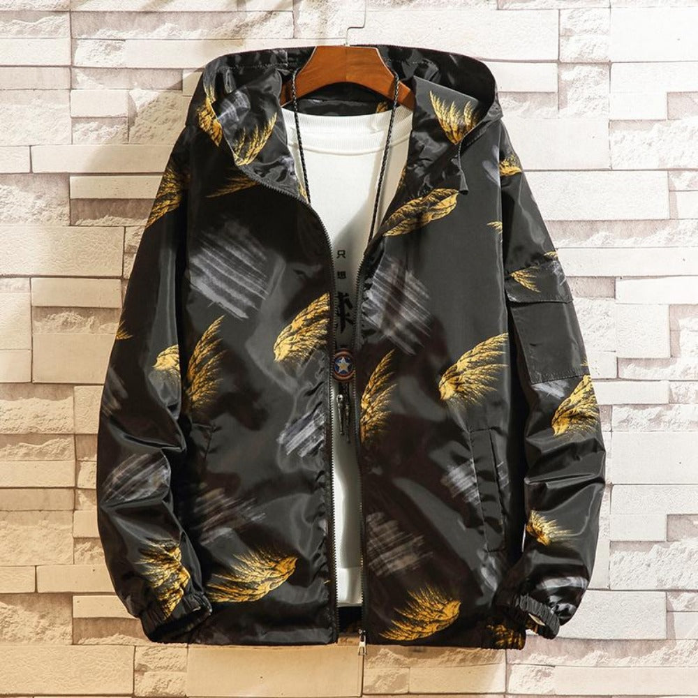 Men's Feather Print Graffiti Windbreaker Jacket-Urban Wear Men-Yellow-M-Product Details: Men's Feather Print Graffiti Turn-Down Collar Windbreaker Hooded Jacket Material: Polyester Style: Preppy Collar: Turn-down Cuff Style: Rib Sleeve Closure Type: Zipper Lining Material: Polyester Thickness: Thin Size Chart:-Keyomi-Sook