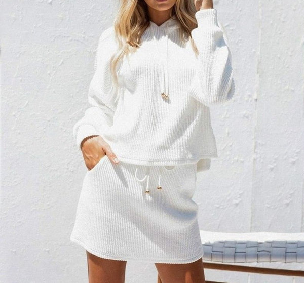 Hooded Lace-Up Sweater Skirt Set-Ladies Sweater & Sweatshirt Dresses-Product Detail: Hooded lace up two piece dress women Knitting casual sweatshirt dress female Oversized cotton white autumn winter dress-Keyomi-Sook
