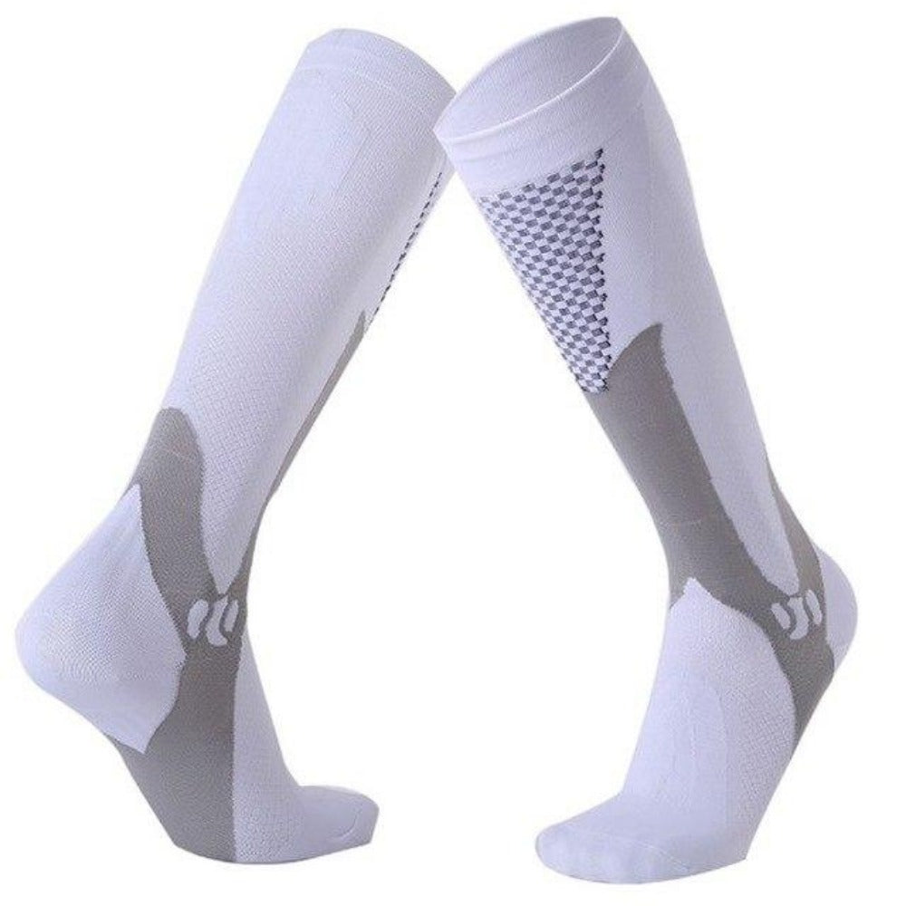 Men'S Knee High Leg Support Long Compression Socks-Men's Dress Socks-White-S/M (42-44)-Product Details: Men's Knee High Leg Support Stretch Long Compression Socks Material: Polyester Cotton Optional Color: Blue, Black, Green, Rose Red, Orange, White Quantity: 1 Pair (2pcs)-Keyomi-Sook