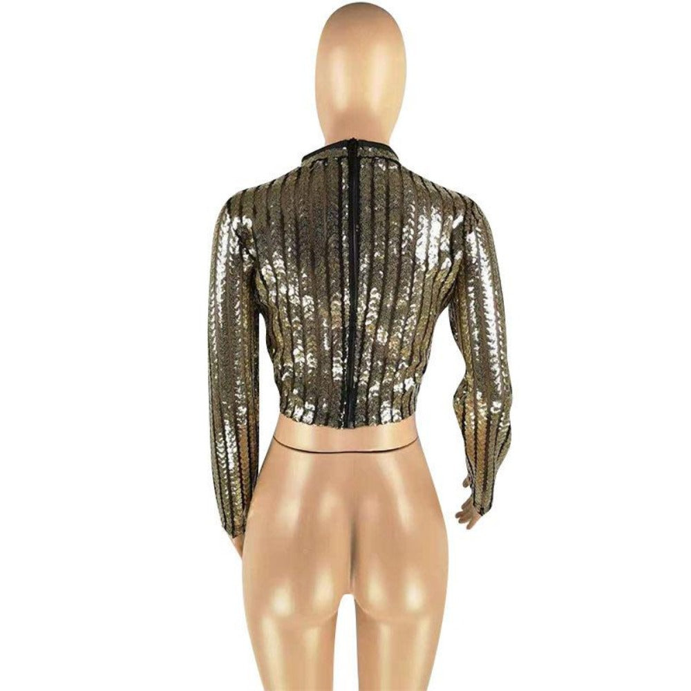 Women's Half High Neck Long Sleeve Sequin Crop Top-Crop/Halter Tops & Bralettes-Product Details: Women's Half High Neck Long Sleeve Sequin Wrapped Chest Crop Top Size Chart:-Keyomi-Sook