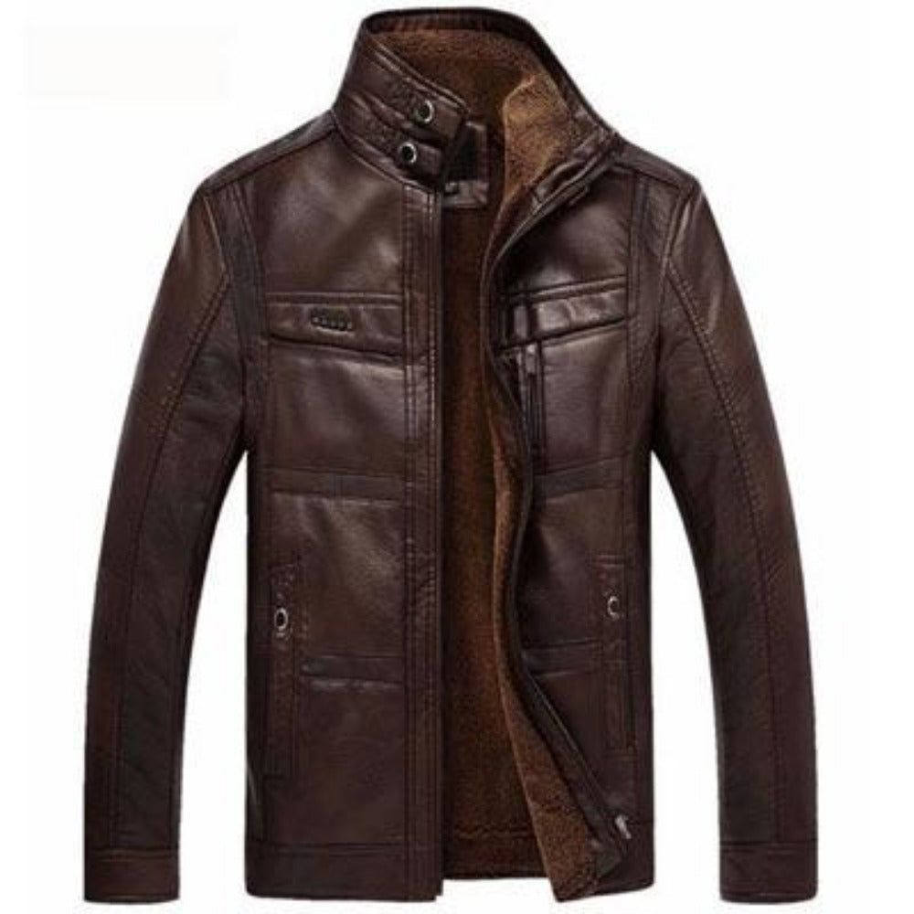 Men's Mountainskin Leather Jacket-Men's Jackets-Dark Coffee-M-Product Details: Men's Mountainskin Leather Winter Faux Fur Leather Jacket Material: PU, Faux Leather Lining Material: Cotton Thickness: Fleece Decoration: Pockets Fabric Type: Batik Collar: Mandarin Closure Type: Zipper Size Chart:-Keyomi-Sook