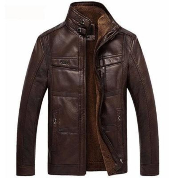 Mountain Skin Leather Jacket-Men's Jackets, Coats & Sweaters-Dark Coffee-M-Keyomi-Sook