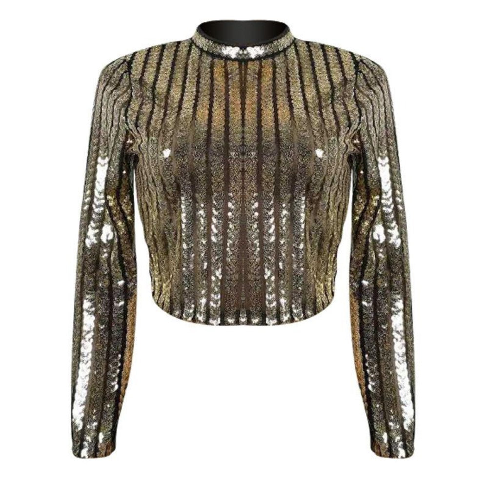 Women's Half High Neck Long Sleeve Sequin Crop Top-Crop/Halter Tops & Bralettes-Burgundy-S-Product Details: Women's Half High Neck Long Sleeve Sequin Wrapped Chest Crop Top Size Chart:-Keyomi-Sook