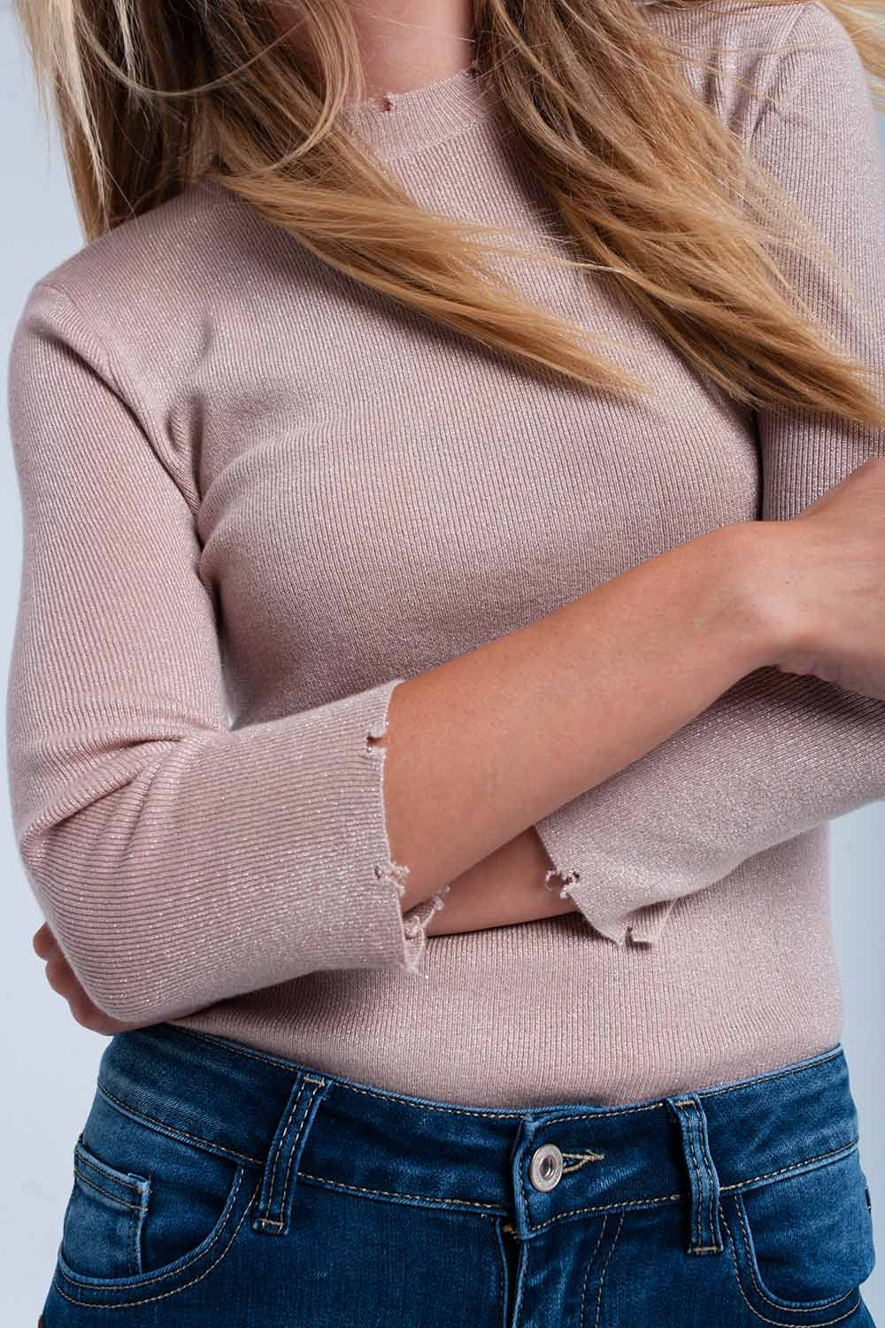 Pink Shiny Sweater-Women - Apparel - Sweaters - Pull Over-Product Details Pink shiny sweater with crew neckline and 3/4 sleeves in bodycon fit. It also has little cut in the hem. Soft woven.-Keyomi-Sook