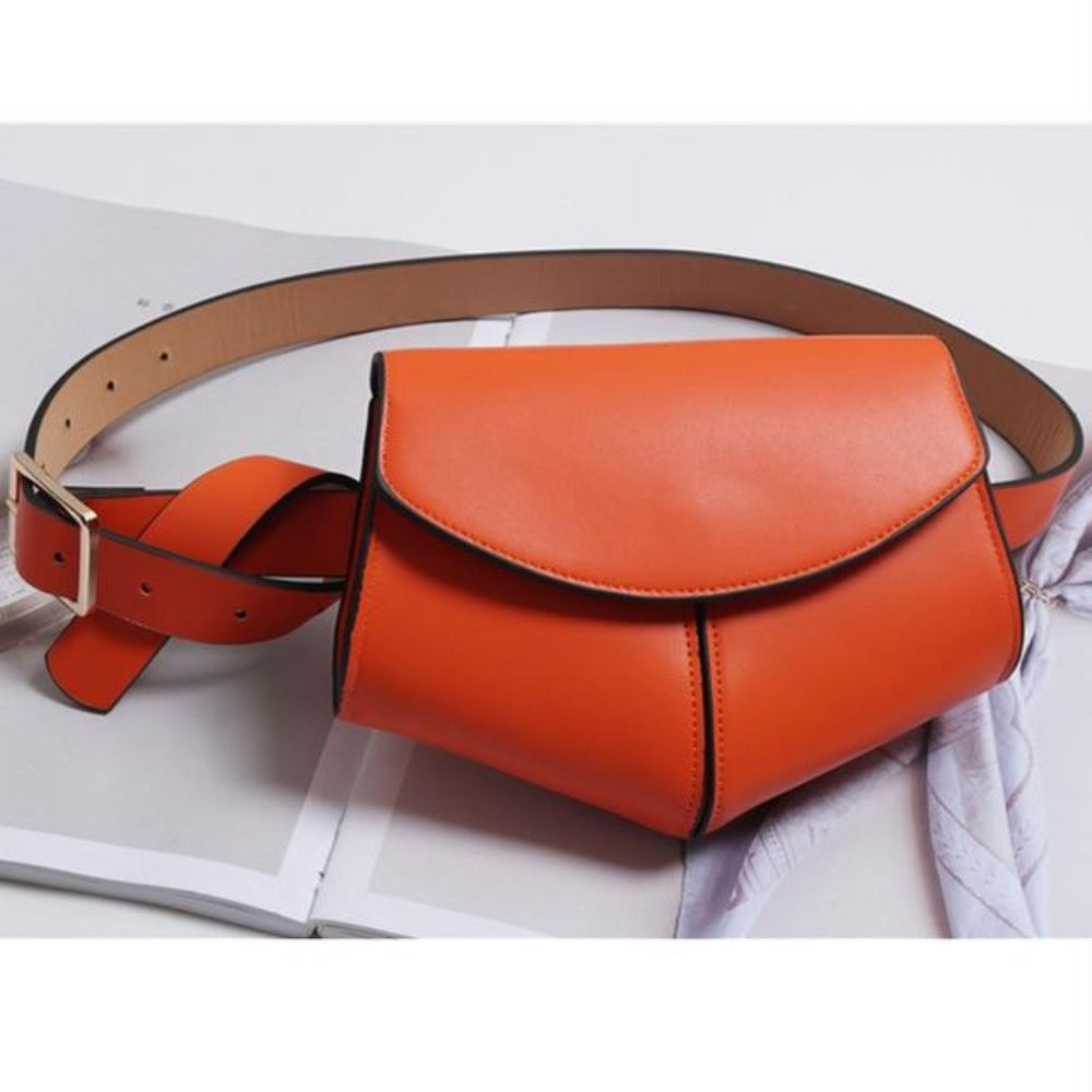 Women'S Serpentine Waist Leather Belt Bag-Women - Bags - Shoulder Bags-Orange waist bag-Product Details: Women's Serpentine Fanny Pack Mini Disco Waist Leather Belt Bag Item Type: Waist Packs Main Material: PU Style: Fashion Pattern Type: Solid Shape: Pillow Dimensions: Strap Drop: 102 cm Item Length: 18 cm-Keyomi-Sook