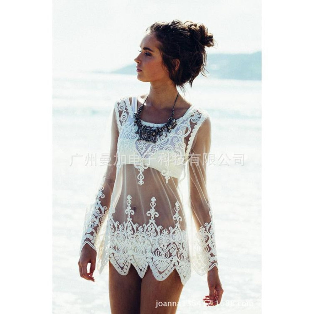 Women'S White Lace Transparent Bikini Cover Ups--Product Details: Women's White Color Lace Transparent Bikini Cover Ups-Keyomi-Sook