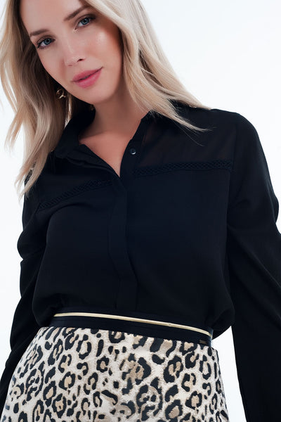 Front Detail Insert Black Blouse-Women - Apparel - Shirts - Blouses-L-Keyomi-Sook