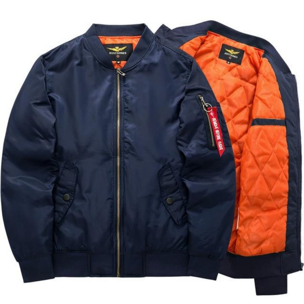 Men's Thick and Thin Military Bomber Jacket-Men's Jackets-2-Blue-S-Product Details: Men's Thick and Thin Military Motorcycle Bomber Jacket Lining Material: Polyester Material: Polyester, Nylon Cuff Style: Conventional Collar: V-Neck Size Chart:-Keyomi-Sook