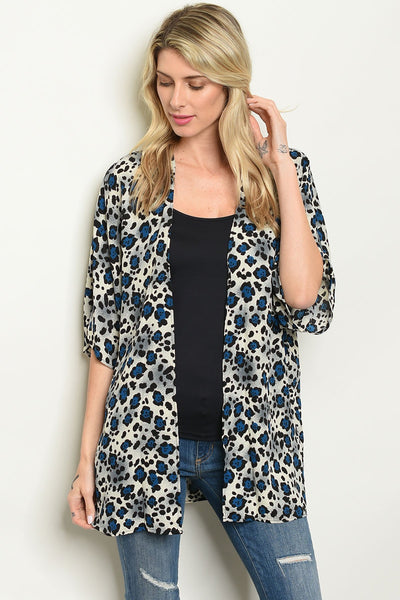 "Womens Animal Leopard Print Kimono-Women - Apparel - Outerwear - Blazers-Product Details Short sleeve open front leopard print kimono. Country: USAFabric Content: 100% POLYESTERSize Scale: S-M-LDescription: L: 30"" B: 50"" W: 44""-Keyomi-Sook"