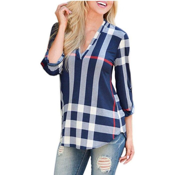 Women's 2/3 Sleeve Plaid Shirts-Tops, Blouses, & Tees-Blue-S-Product Details: Women's V-Neck 2/3 Sleeve Casual Plaid Shirts Material: Cotton, Acrylic Size Chart:-Keyomi-Sook