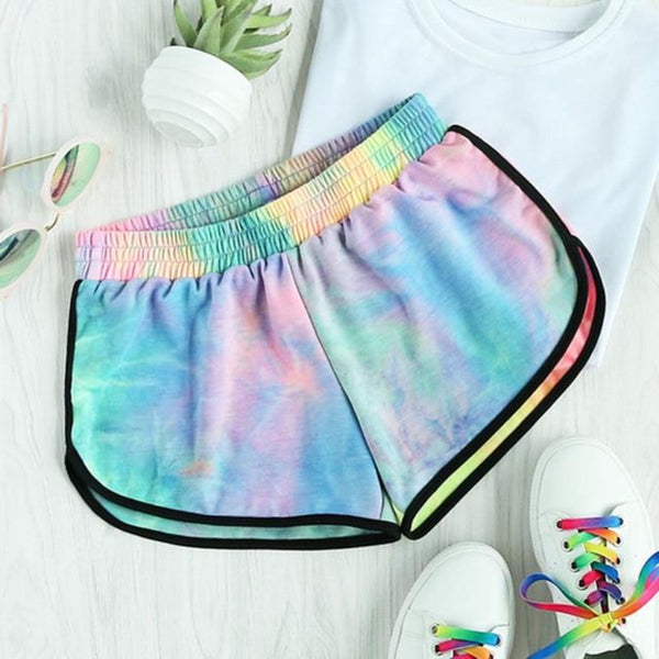 Women'S Multi-Color Tie Dye Mid Waist Loose Shorts-Tye-Dye Collection-Multi-S-Product Details: Women's Multi-color Tie Dye Water Color Mid Waist Loose Summer Shorts-Keyomi-Sook