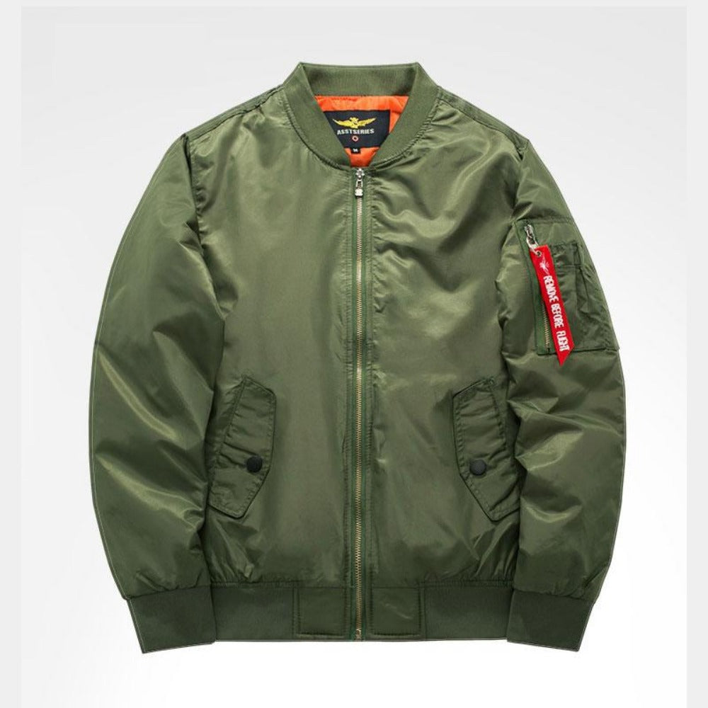 Men's Thick and Thin Military Bomber Jacket-Men's Jackets-7-Green-S-Product Details: Men's Thick and Thin Military Motorcycle Bomber Jacket Lining Material: Polyester Material: Polyester, Nylon Cuff Style: Conventional Collar: V-Neck Size Chart:-Keyomi-Sook