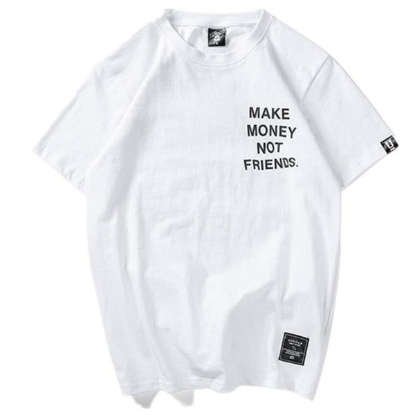 Men's Make Money Not Friends Print T-shirt-Urban Wear Men-White-S-Product Details: Men's Make Money Not Friends Print Short Sleeve Cotton T-shirt Collar: O-Neck Material: Cotton Size Chart:-Keyomi-Sook