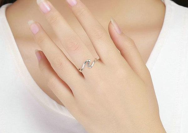 Geometric Wave CZ Ring-Ladies Rings-6-Keyomi-Sook