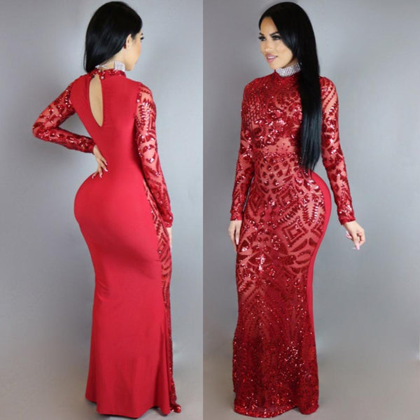 Women's Sequin Spliced Shiny Maxi Dress-Gowns-Red-S-Product Details: Women's Sequin Spliced Shiny High Waist Bodycon Mermaid Maxi Dress Material: Cotton, Polyester Pattern: Flower Size Chart:-Keyomi-Sook