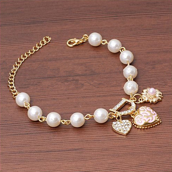 Letter D Initial Heart Charm Faux Perl Bracelet-Ladies Bracelets-Product Detail: Unlimited Bangle Bracelets Charm Heart Flower Simulated Pearl Crystal D Word Beaded Bracelet For Women Jewelry Metals Type: Zinc Alloy-Keyomi-Sook