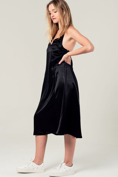 Satin Midi Dress With Back Detail In Black-Women - Apparel - Dresses - Day to Night-L-Keyomi-Sook