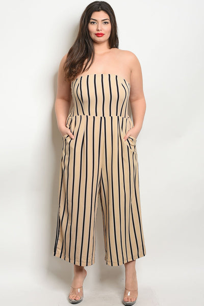 "Beige Black Stripes Jumpsuit-Women - Apparel - Plus-Product Details Plus size tube top striped cropped wide leg jumpsuit Country: CHINAFabric Content: 90% POLYESTER 10% SPANDEXSize Scale: XL-1XL-2XL-3XLDescription: L: 44"" B: 36"" W: 34"" I.S.: 22""-Keyomi-Sook"