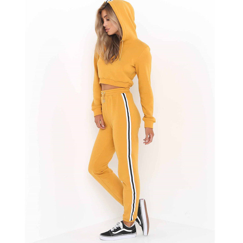 Women'S Crop Hoodies Sweatshirt Pants Set-Sweaters & Sweatshirts-Yellow-S-Product Details: Women's Crop Hoodies Sweatshirt Casual Pants Set Material: Polyester, Cotton Color: Pink, Yellow, Wine Red Style: Fashion Women Tracksuit Size Chart :-Keyomi-Sook