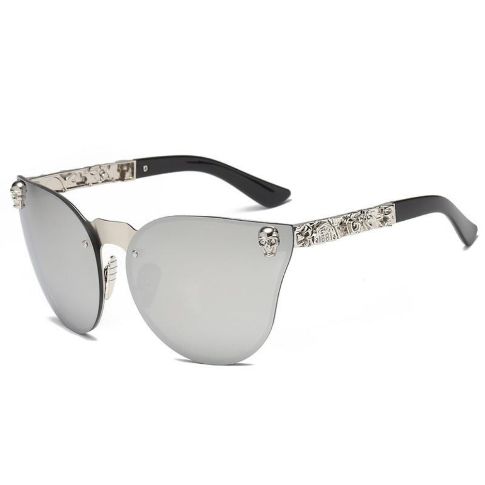 Women's Gothic Style Skull Frame Sunglasses-Ladies Sunglasses-C4-Silver-Silver-Product Details: Women Gothic Sunglasses Skull Frame Metal Temple High Quality Sun glasses Protect Yours Eyes While Reflecting Your Style Lenses Optical Attribute: Mirror Style: Shield Frame Material: Alloy Lenses Material: Polycarbonate Dimensions: Lens Width: 58 mm Lens Height: 45 mm-Keyomi-Sook