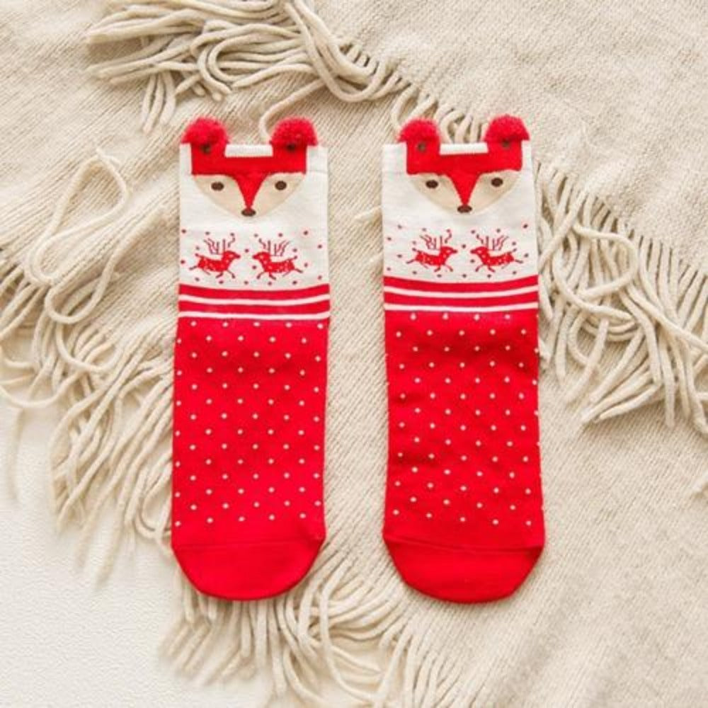 Women'S Cotton Cartoon David'S Deer Christmas Socks-Ladies Socks-fox-Product Details: Women's Cotton Cartoon David's Deer Casual Winter Christmas Socks Package included: 1 Pair Socks One size: EU 36-41-Keyomi-Sook