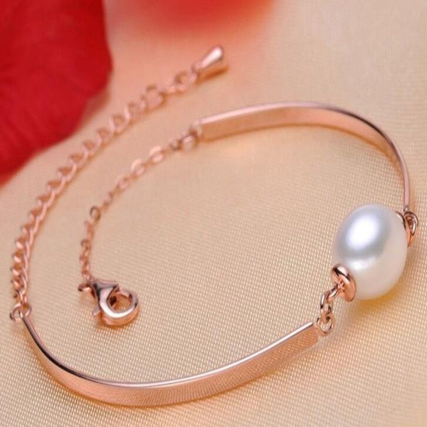 Pearl Charm Stirling Silver Bracelet-Ladies Bracelets-rose gold-Product Detail: 925 Sterling Silver Charm Bracelet Bangles Pearl Jewelry Material: Natural Freshwater Pearl Dimension: Pearl size: 9-10 mm Length: 18+2 cm-Keyomi-Sook