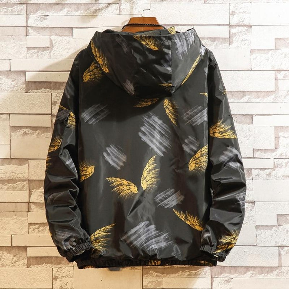 Men's Feather Print Graffiti Windbreaker Jacket-Urban Wear Men-Product Details: Men's Feather Print Graffiti Turn-Down Collar Windbreaker Hooded Jacket Material: Polyester Style: Preppy Collar: Turn-down Cuff Style: Rib Sleeve Closure Type: Zipper Lining Material: Polyester Thickness: Thin Size Chart:-Keyomi-Sook