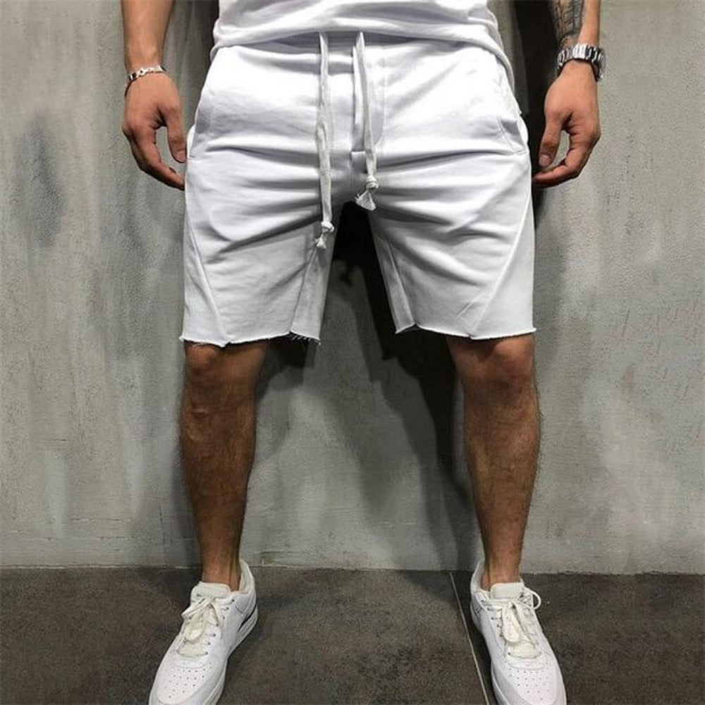 Men's Casual Fitness Jogging Short Pants-Men's Athletic Wear-white-S-Product Details: Men's Quick Drying Casual Fitness Jogging Short Pants Length: Shorts Material: Cotton, Polyester Closure Type: Elastic Waist Waist Type: Mid Decoration: Appliques Size Chart:-Keyomi-Sook