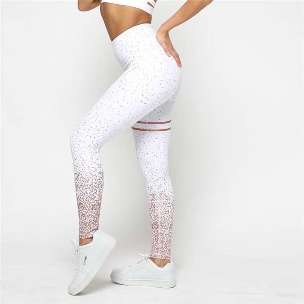 Women'S High Waist Push Up Stamping Leggings-Women - Apparel - Activewear - Leggings-Product Details: Women's High Waist Push Up Fitness Stamping Leggings Material: Polyester, Spandex Fabric Type: Gilding Item Type: Compression Leggings Sport Style: Yoga, Fitness, Running, Sports Color: Pink / White / Gray Size Chart:-Keyomi-Sook