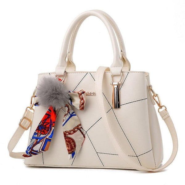 Women's Ribbon Bow Pom-Pom Leather Scarf Bag-Women - Bags - Shoulder Bags-White-Max Length 31cm-Product Details: Women's Stylish Cross-body Leather Bag With Geometric Stitching. Lots Of Color Choices With Latest Designer Looks. Filigree Design Prints Scarfs Puffy Pom-Pom Accent. Item Type: Handbags Shape: Satchels Main Material: PU Handbags Type: Shoulder Bags Types of bags: Shoulder & Cross-body Bags Lining Material: Polyester Number of Handles/Straps: Single Decoration: Ribbons Style: Vintage