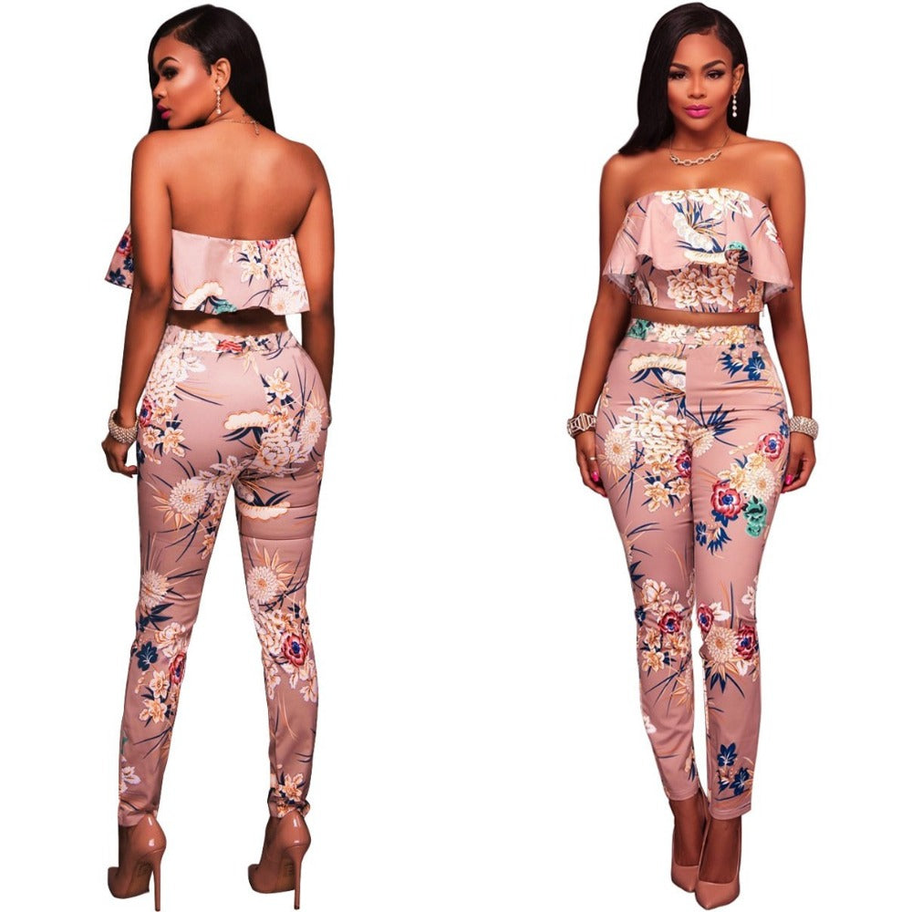 Ruffles Crop Top And Pants Floral Set-Rompers, Jumpers & Sets-Pink-S-Product Details: Summer Women Clothes Flower two piece set Print off shoulder crop top Ruffles cropped Tops Pants Pattern suit Material: polyester Size Chart:-Keyomi-Sook