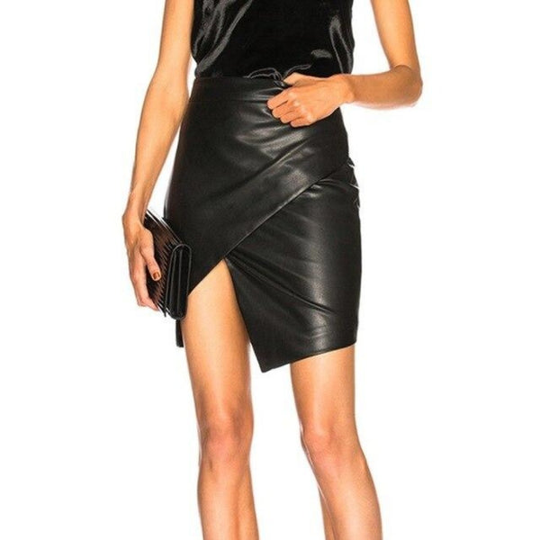 High Waist Asymmetrical Split Leather Mini Skirt-Skirts-Black-S-Product Detail: Womens Faux Leather Sexy Skirts High Waist Black Stretch Skinny Warp Midi Bodycon Casual Office Short Split Mini Skirts Material: Spandex, Polyster, Faux Leather Waistline: Empire Dresses Length: Above Knee, Mini Size Chart:-Keyomi-Sook